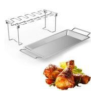 Bbq Beef Chicken Leg Wing Grill Rack 14 Slots Stainless Stand With Drip Pan 2021