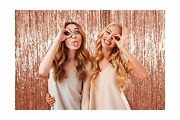 Metallic Fringe Tinsel Curtains Rose Gold 3 Ft X 8 Ft Photo Booth Props 3 Pac...
