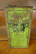 Vintage 1930s Rawleighs Ideal Fly Repellent Graphic Tin Litho One Gallon Oil Can