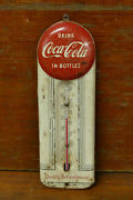 Rare Vintage Original 1950and039s Coca Cola Red Button Thermometer Sign Working