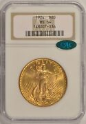 1924 20 St. Gaudens Gold Double Eagle Ngc Ms64 Cac Older Holder Pre-1933 Gold
