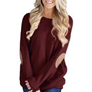 Womens Casual Long Sleeve Crew Neck Pullover Loose Blouse Sweatshirt Tops Shirts