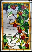 32 X 20 Hummingbird Floral Style Stained Glass Window Panel W/ Chain