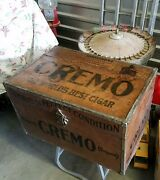 1900's Antique Cremo Cigars Metal Humidor Trunk 28 X 18 X 16-1/2 Advertising