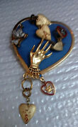 Jewelry Wotm Women Of The Moose-badges -on Blue Heart