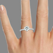 Natural 14k White Gold Round Cut Diamond Engagement Ring 2.12 Ct F/si2