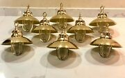 Nautical Vintage Style Brass Hanging Cargo Bulkhead Light With Shade - 8 Piece