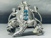 Important Colossal Toad Navajo Turquoise Sterling Silvewr Bracelet