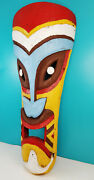 Vintage 4ft Original Pacific Carved Wood Multi Color Painted Tiki Face Statue