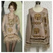 The Real Thing Pole Feather Fringe Long Sleeve Knit Dress Sweater _65354