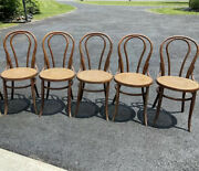 6 Vintage Antique Thornet Styl Bentwood Chairs Bistro Side Wood Rattan Cane Mcm