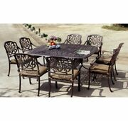 New 9 Piece Patio Square Dining Set Outdoor Steel Cast-aluminum Table And 8 Chairs