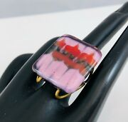 Mcm Modern Signed Higgins Art Glass Purple And Red Abstract Flowers Large Ring