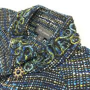 St. John Womenand039s Knit Boucle Tweed Top Button Cardigan Blue/green Andbull Size 4