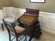 Antique Captain's Desk With Chair And Sixteen 16 Pullout Drawers