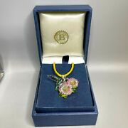 Bradford Exchange Hummingbird And Flowers Glass Art Pendant W/ Changeable Necklace