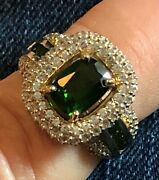 1.47ctw Russian Chrome Diopside/white Zircon 10k Yellow Gold Ring--size 6