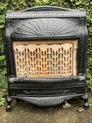 Victorian Heavy Cast Iron Gas Fireplace Screen Grate Insert Antique Architecture