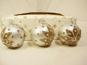 3 Vtg Ges Gesch Glass Ornaments West Germany Silver Gold Box Quick Free Shipping