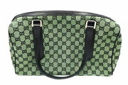 Gg Canvas Mini Boston Bag Green 257288 Secondhand Popularity Recommended