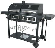 Gas Charcoal Outdoor Combo Grill Dual Fuel Stainless Steel