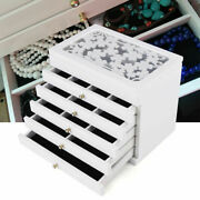 Wooden Gift Storage 6layer Necklace Organiser Jewelry Box Cabinet Us Stock