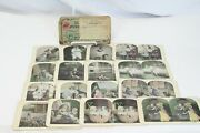 1914 Stereoscope Stereograph Cards 16 Kids Dogs And Mailer Antique Photo Oil