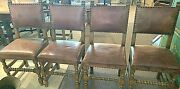 Antique English Leather And Oak Dining Chairs