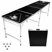 8 Foot Portable Beer Pong / Tailgate Tables Black Football American Flag Or