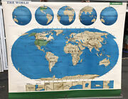 Rand Mcnally Geography Terms + World + Us + Pull-down Map Grade 3 4 5 6 7 + 5ft