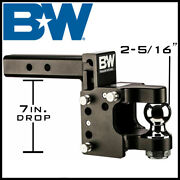 Bandw Tow And Stow Pintle 2 Receiver Hitch 8.5 Drop W/ 2-5/16 Ball Mount