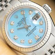 Rolex Ladies Datejust Ice Baby Blue Mother Of Pearl Diamond Watch + Rolex Band