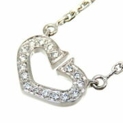 Heart Necklace Pavedia K18wg 750 White Gold 240900014795 Secondhan _8594