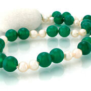 Necklace Chrysoprase Green Akoya Pearls Cultured Silver Closure 17 11/16in