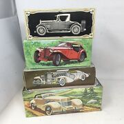 Lot Of 4 Avon Vintage Cars Cologne Bottles With Boxes And Full 1935 Mg Cord 37