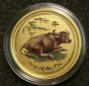 2009 Australia 15 Dollars Lunar Year Of The Ox 1/10 Oz 9999 Gold Coin Colorized