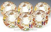 Antique Royal Crown Derby England Orient Mikado Bread And Butter Plates Set Of 6