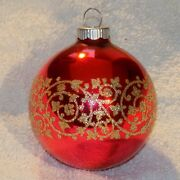 Christmas Ornament Vintage Mercury Glass Red Decorated 2 5/8