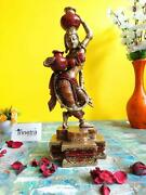 Indian Handmade Attractive Brass Pitcher Lady Statue For Home Office Decoration