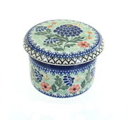 Blue Rose Polish Pottery Sofia French Butter Dish