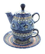 Blue Rose Polish Pottery Blue Art Individual Teapot And Cup