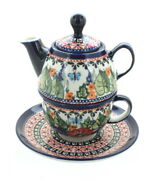 Blue Rose Polish Pottery Floral Butterfly Individual Teapot And Cup