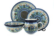 Blue Rose Polish Pottery Lily Of The Valley 16 Piece Dinner Set