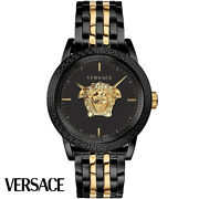 Versace Verd01119 Palazzo Empire Gold Black Stainless Steel Menand039s Watch New