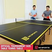 Official Size Indoor Tennis Ping Pong Table 2 Paddles Balls Foldable And Casters