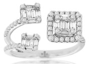 .80ct Diamond 14kt White Gold Round And Baguette Cluster Halo Square Tension Ring