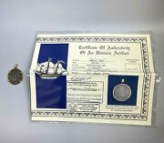 1795 2 Reales Silver Coin In 14k Yellow Gold Pendant And Cert. Of Authenticity