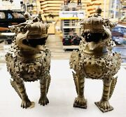 Vintage Antique 12 Large Bronze Chinese Foo Dogs Guardian Lions Dragon Statues