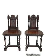 Pair Of Two Vintage Spanish Style Ornately Carved Accent Chairs