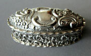 Small Antique Deakin And Francis Sterling Silver Repousse Snuff Box Circa 1904
